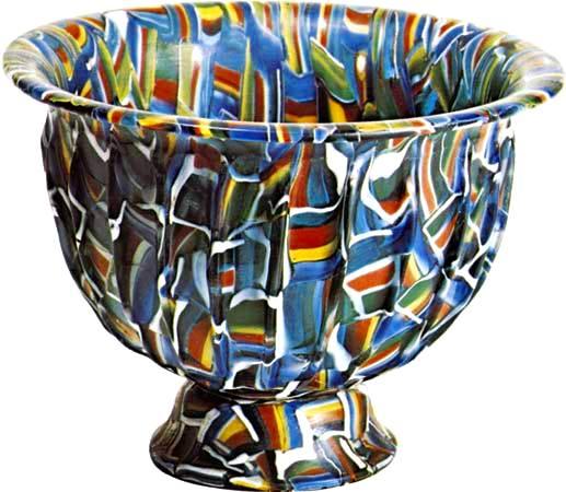 Tazón de vidrio de mosaico prensado, que se cree que es de Alejandría, Egipto, siglo I aC