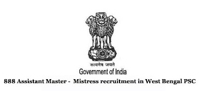 888 Assistant Master -  Mistress recruitment in West Bengal PSC