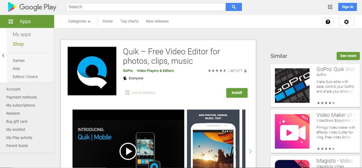 Quik video editor free blogging tool