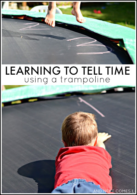 Using a trampoline to teach kids how to tell time from And Next Comes L