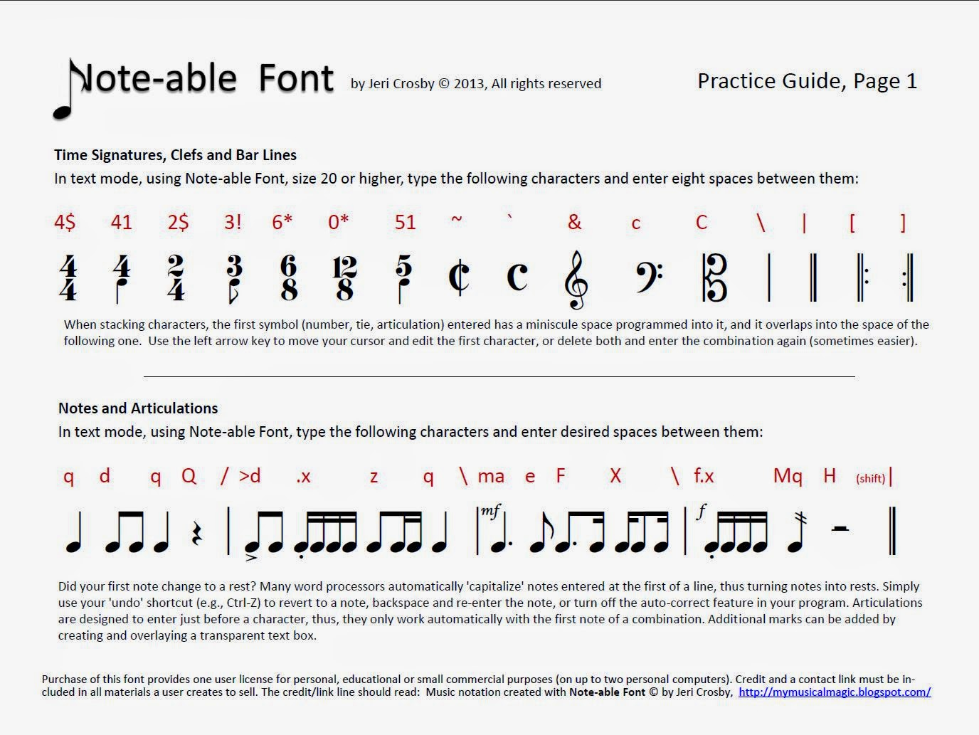 mymusicalmagic music notation solutions noteable font