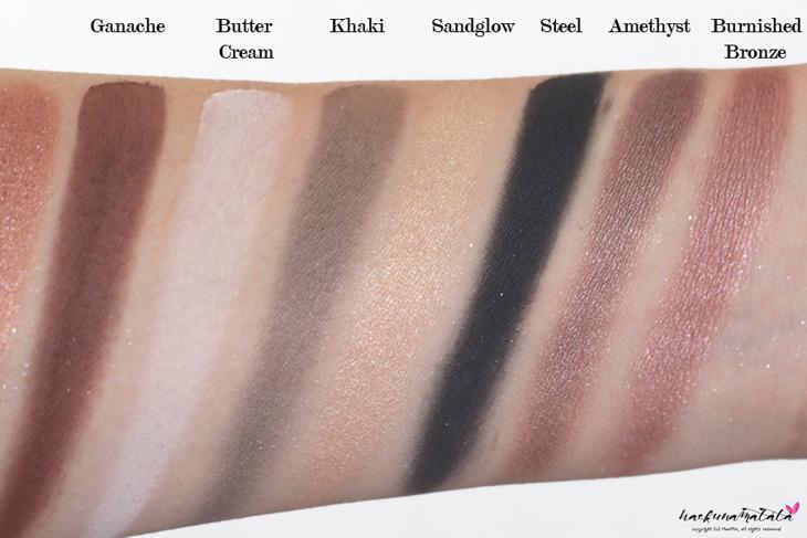 Laura Mercier Eye Art Caviar Colour-Inspired Edition - Eyeshadow Palette Swatches: Ganache, Butter Cream, Khaki, Sandglow, Steel, Amethyst, Burnished Bronzed