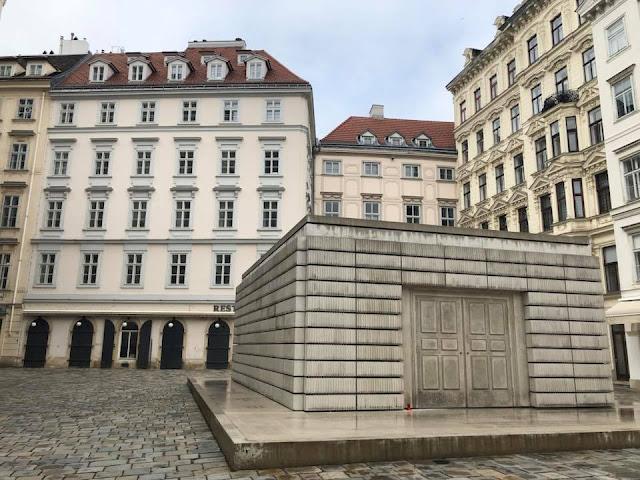 The Holocaust memorial outside the Jüdisches museum in Judenplatz, Vienna
