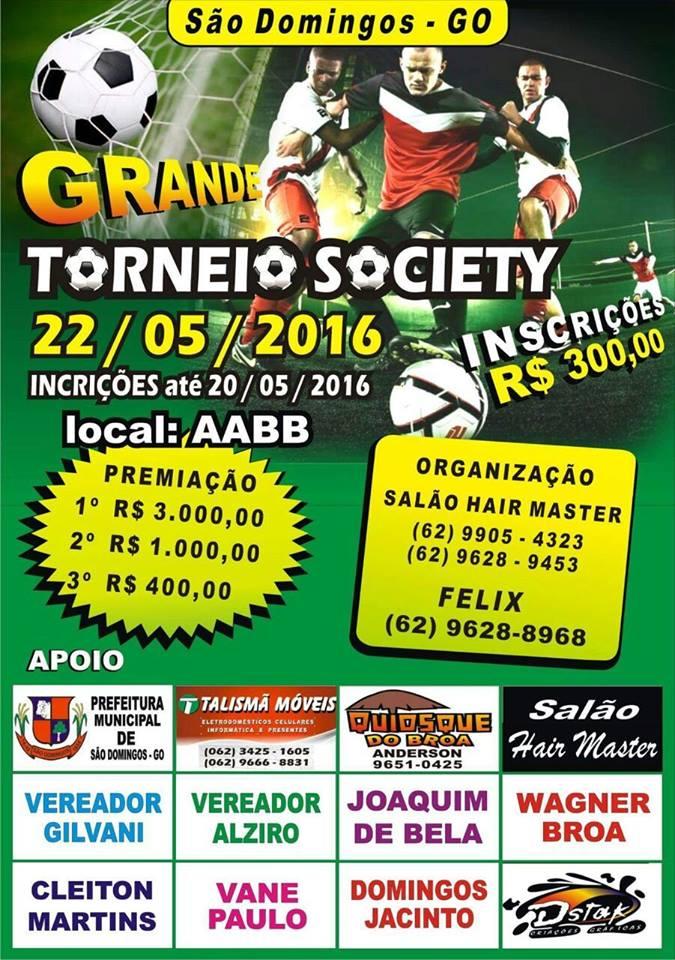 Torneio de Futebol Society acontece no dia 22 de maio em São Domingos GO e73dbc73c036d