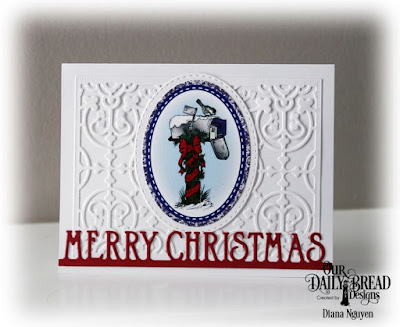 Our Daily Bread Designs, Christmas Card Collection 2016, Merry Christmas Border, Majestic Medallion die, Stitched Oval Dies, Designed by Diana Nguyen
