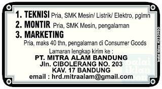 Lowongan Kerja PT. Mitra Alam Bandung