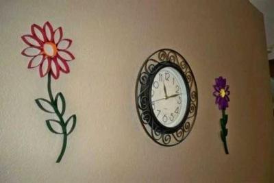 Bingkai jam dinding dari kertas bekas tisu roll