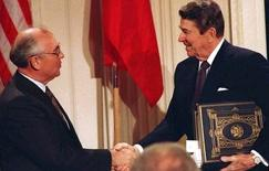 The treaty was signed in 1987 by U.S. President Ronald Reagan and Mikhail Gorbachev