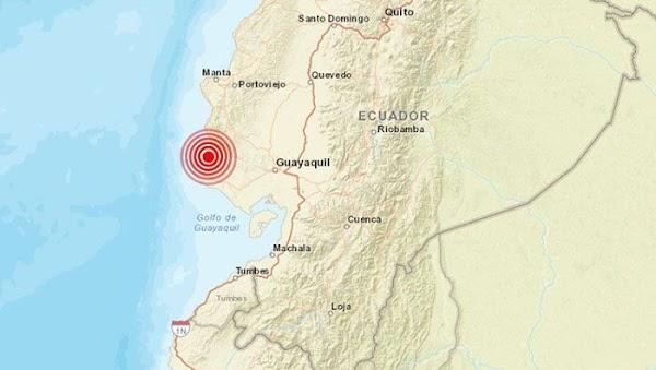 Se registra fuerte sismo de magnitud 6.2 en Ecuador, seguido por 8 réplicas