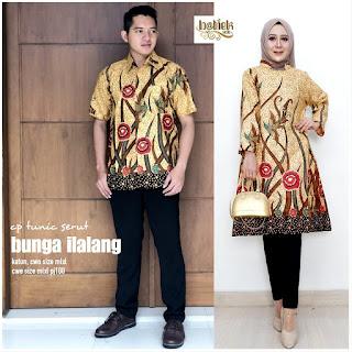 Batik Couple Tunik Serut Bunga Ilalang