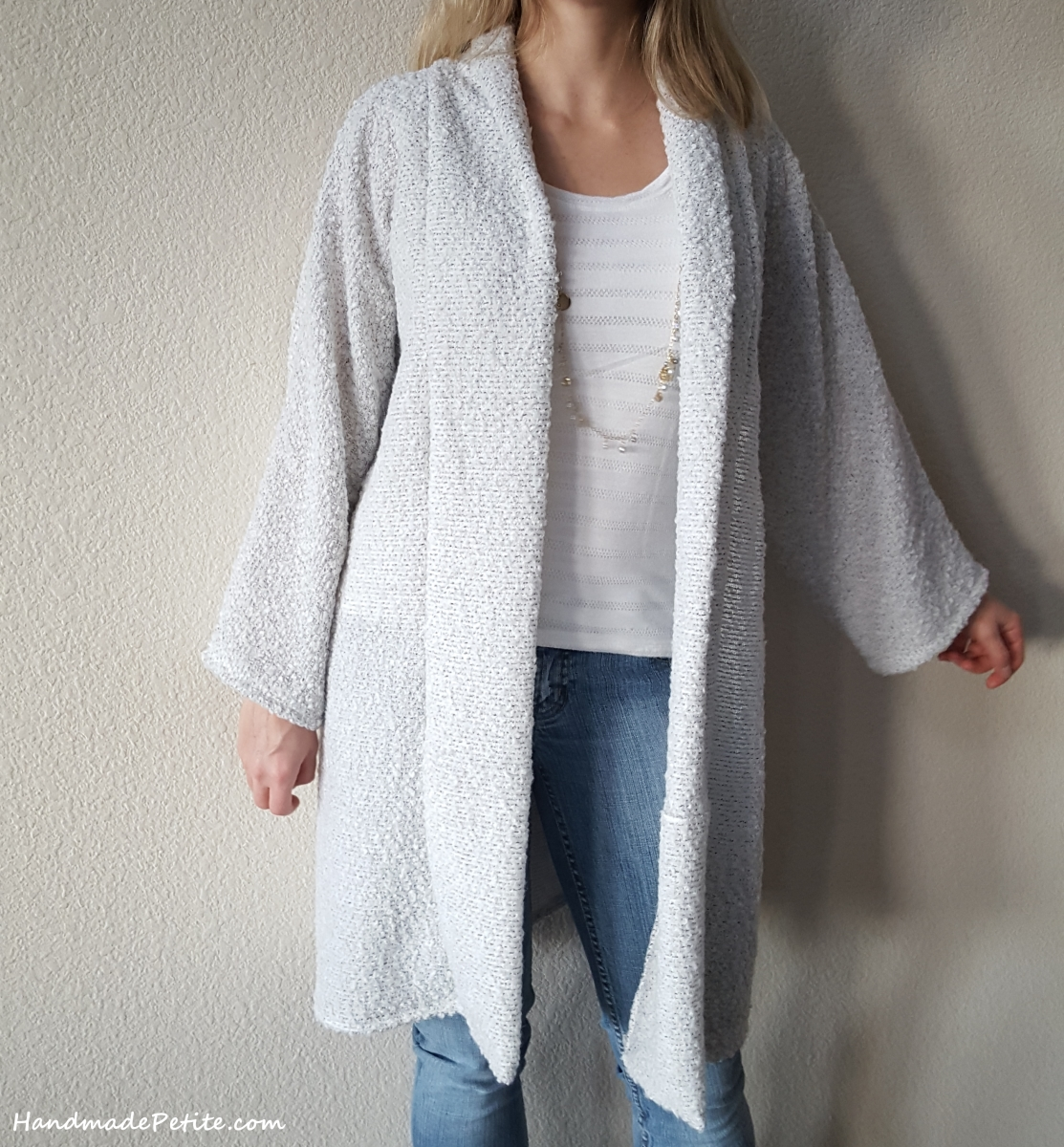 Closeup of white boucle cardigan from M6802 sewing pattern