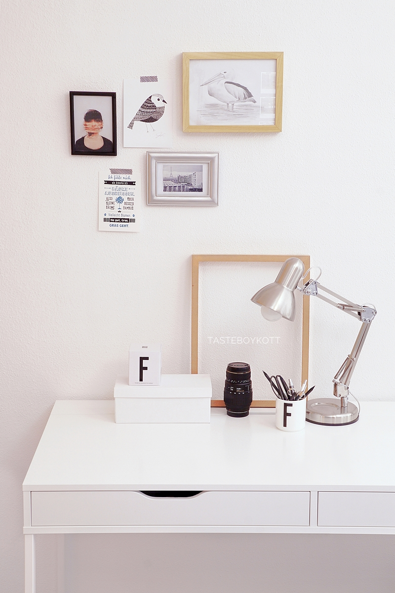 Scandinavian working space desk in black, white, tan // desk lamp, art prints, design letters cup, pretty boxes