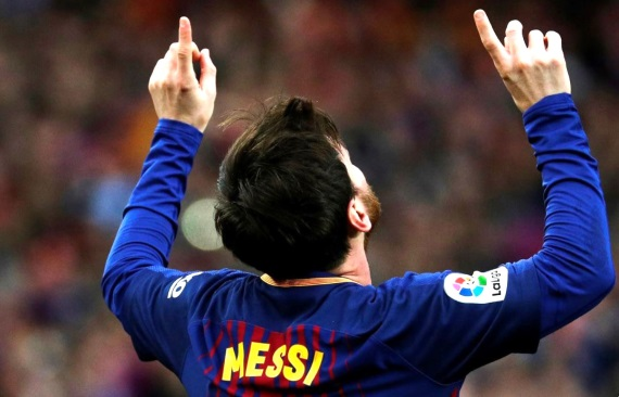 Lionel Messi celebrates his 600th career goal