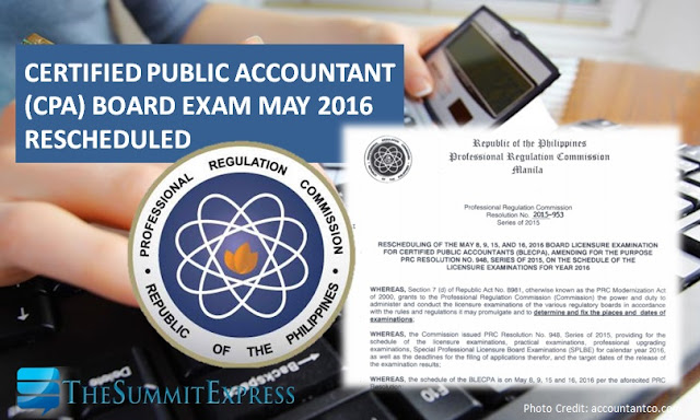 PRC reschedules May 2016 CPA board exam