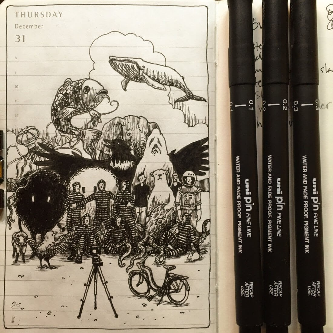 14-Coming-Together-Nina-Johansson-Moleskine-Diary-of-Surreal-Ink-Drawings-www-designstack-co
