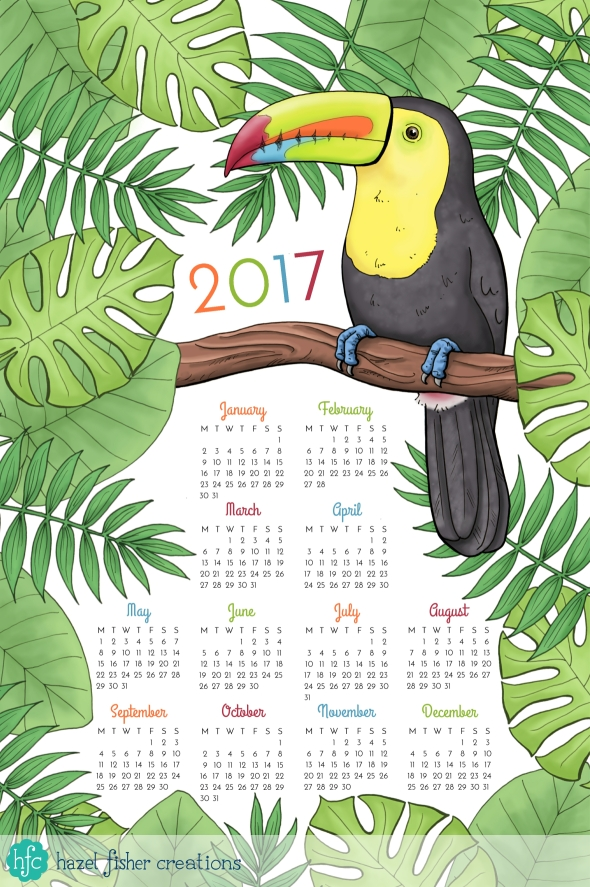 Spoonflower Contest entry - Toucan Tea Towel Calendar design by Hazel Fisher Creations