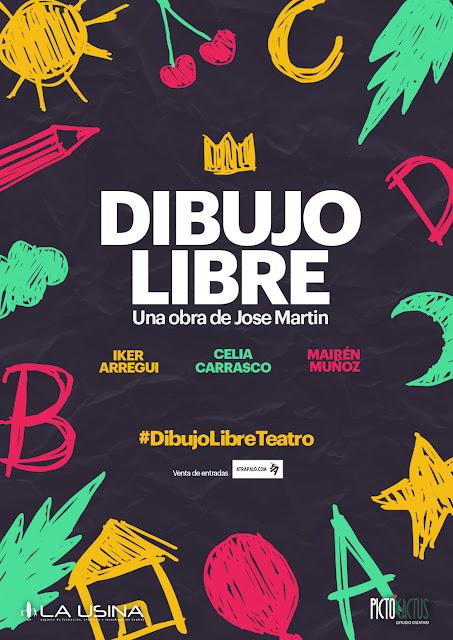 Dibujo libre teatro Madrid comedia La Usina Iker Arregui Mairén Muñoz Celia Carrasco