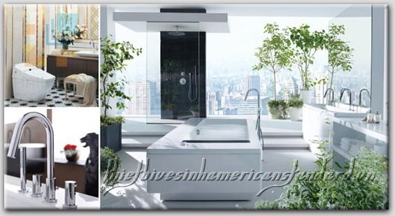 Không gian phòng tắm tiện nghi với thiết bị vệ sinh American Standard