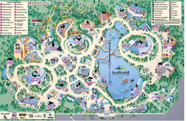 Mapa de Parque Sea World en Orlando