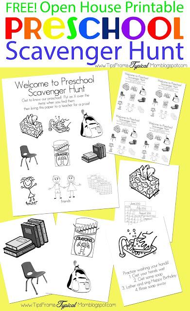 Preschool Open House Free Printable Scavenger Hunt Tips