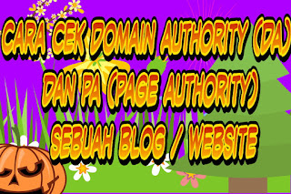 Cara cek Domain Authority (DA)  dan PA (Page Authority) sebuah blog / website