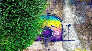 Foto retangular. À esquerda, uma densa trepadeira, unha de gato, com pequenas folhas verdes toma conta de um muro áspero e desgastado quase tapando o grafite do artista gaúcho, Celopax. O grafite tem forma convexa, remete a abertura arredondada de um túnel delimitada duplamente por pontinhos azul escuro e brancos. No topo, nuances de azul e verde, em seguida misturam-se com o amarelo vibrante, abaixo, um vermelho desbotado mistura-se ao roxo finalizado por uma reta azul marinho. Na altura da divisa entre o amarelo e o vermelho desbotado, um olho elíptico horizontalizado em fundo branco e íris azul escuro acompanhando a forma do olho; em seguida, ocupando parte do vermelho desbotado e do roxo, um círculo grande em fundo escuro delineado por pontos brancos, no interior, uma mancha roxa . Sobreposto ao grafite, pequenos salpicos irregulares escuros que remetem às gotas de chuva. À direita, sobreposto a uma parte branca do muro, um pequeno e delicado pássaro azulão desenhado, pousado com o bico aberto sobre a linha da base no mesmo tom: pernas bem longas e finas, enquanto uma sustenta, a outra está suspensa e cruzada formando um quatro invertido. Abaixo, da linha da base, sobre outra parte branca do muro, algumas semi retas horizontais e aleatórias em azulão finalizam em acabamento ao grafite.