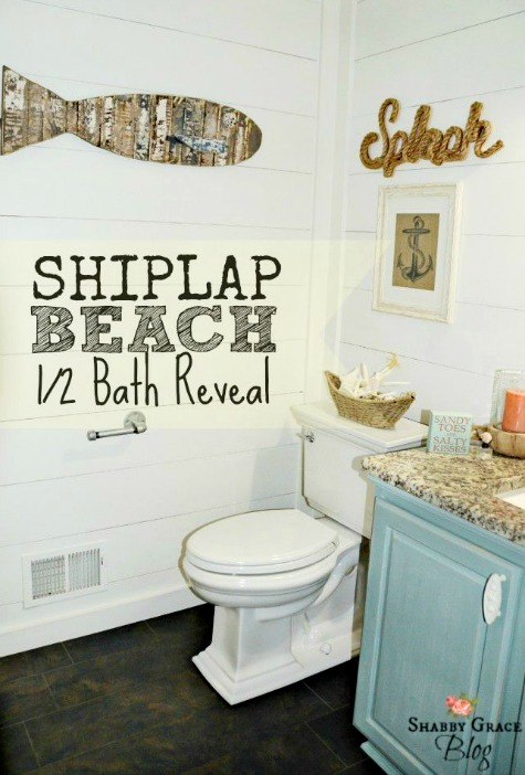 Nautical beach bathroom with shiplap walls amp coastal decorations completely coastal