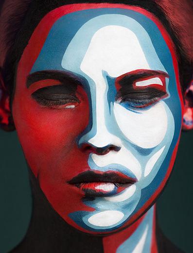 body paint con el tema de tecnologia y pixeles