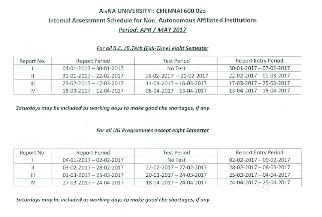 Anna University Internal Assessment Schedule 2017 for UG, PG & PhD