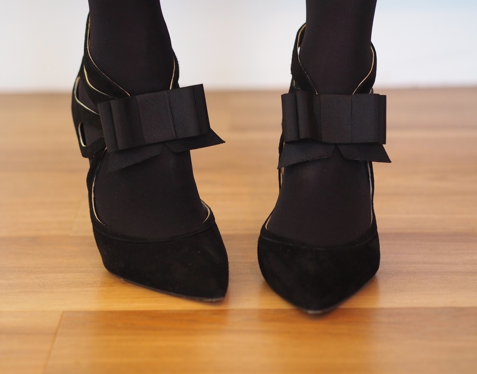 Boden Black bow high-heeled party shoes