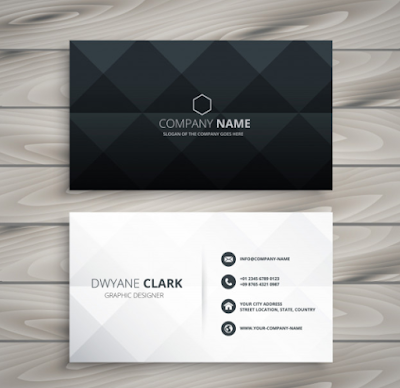 Template Kartu Nama - Modern Black White Business Card Design