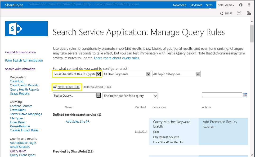 Add new Promoted Search Result in SharePoint 2016