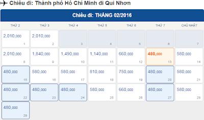Giá vé máy bay tết 2016 đi Quy Nhơn tháng 12