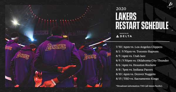 The 8-game seeding schedule that the Los Angeles Lakers will play when the NBA resumes its regular season in Orlando, Florida on July 30th.
