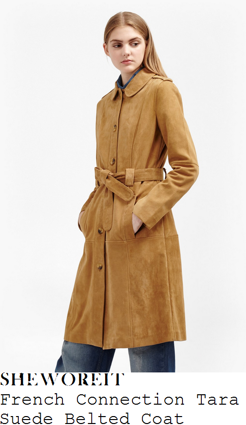 mollie-king-french-connection-tara-manuka-honey-tan-long-sleeve-collared-tie-waist-textured-suede-coat