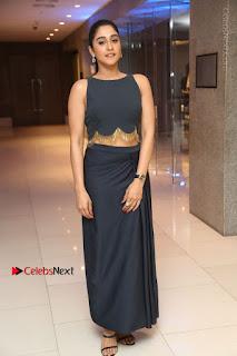 Actress Regina Candra Stills in Beautiful Blue Long Dress at Nagaram Success Meet  0175.JPG