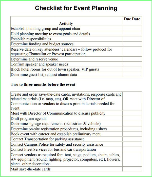 Event Planning Checklist Template Free – Conference Planner Template