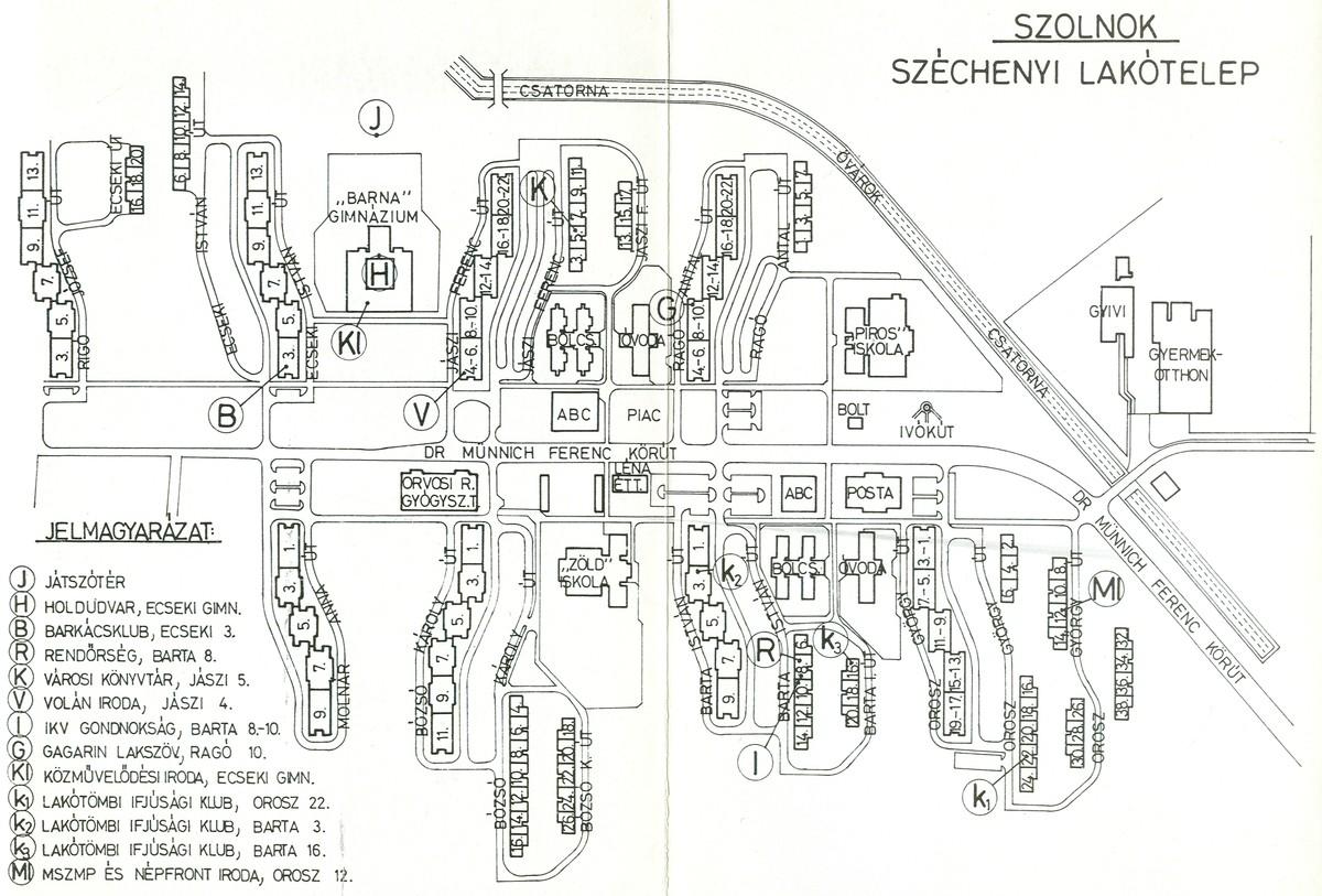 A szolnoki Széchenyi városrész: Az utcanevek változása