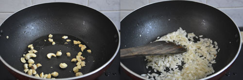 frying cashew nuts and aval