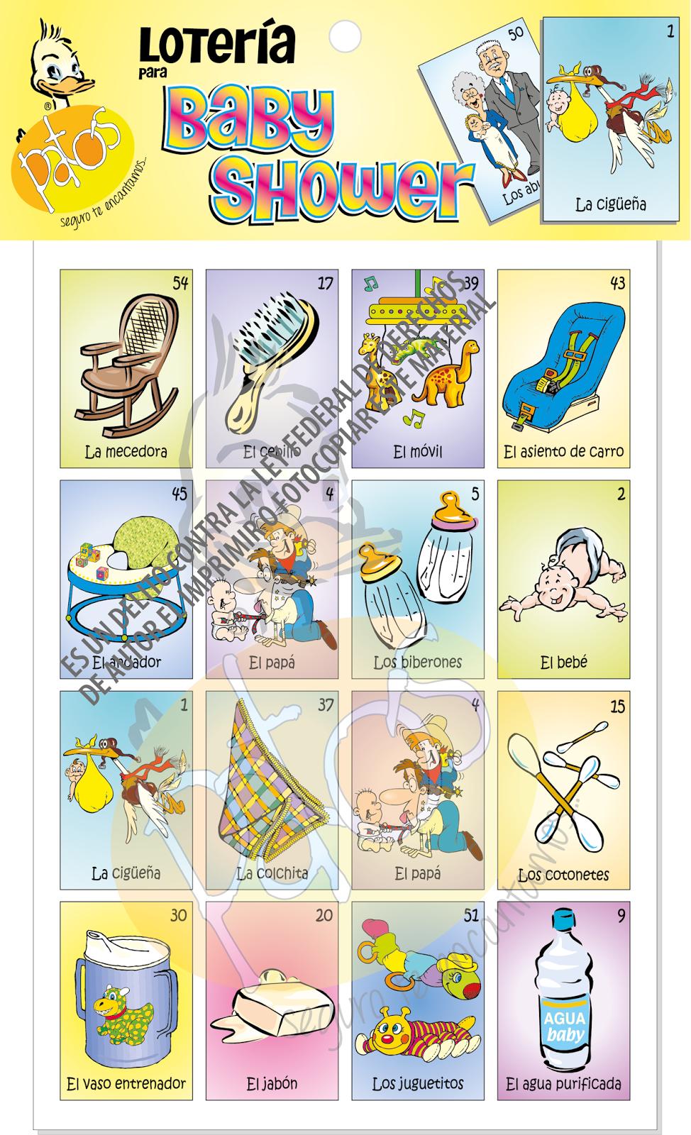 Loterias Y Juegos Para Baby Shower Y Despedida De Soltera