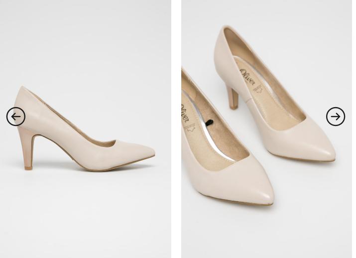 s. Oliver - Pantofi de femei bej cu toc pentru tinute de zi