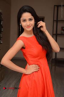 Telugu Actress Divya Nandini Stills in Orange Sleeveless Gown at Chennai Chaitrama Movie le Launch Event  0027.JPG
