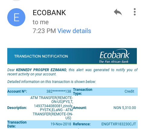 Zinoly Payment proofs