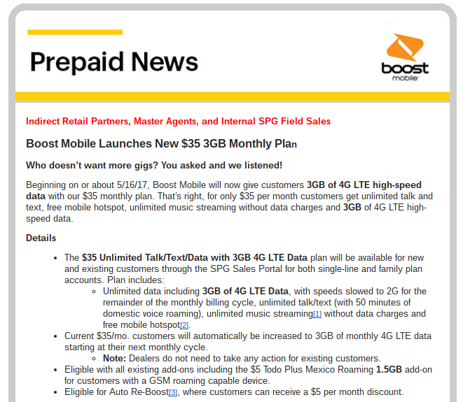 Boost Mobile Ups $35 Plan High Speed Data to 3 GB | Prepaid