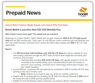 Boost Mobile $35 Plan Data Increase Announcement