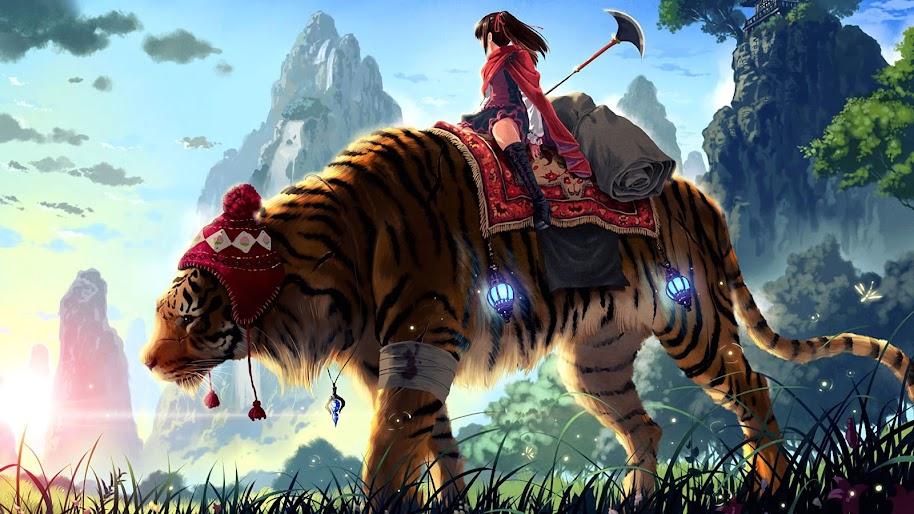 Anime, Girl, Fantasy, Tiger, 4K, 3840x2160, #41