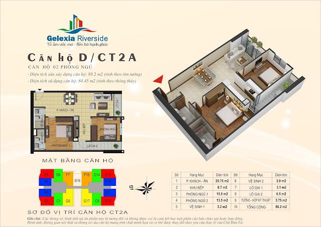 Thiết kế căn hộ D, dt 84m, 2 ngủ, tòa CT2A Gelexia Riverside