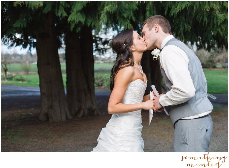 First kiss on a wedding day