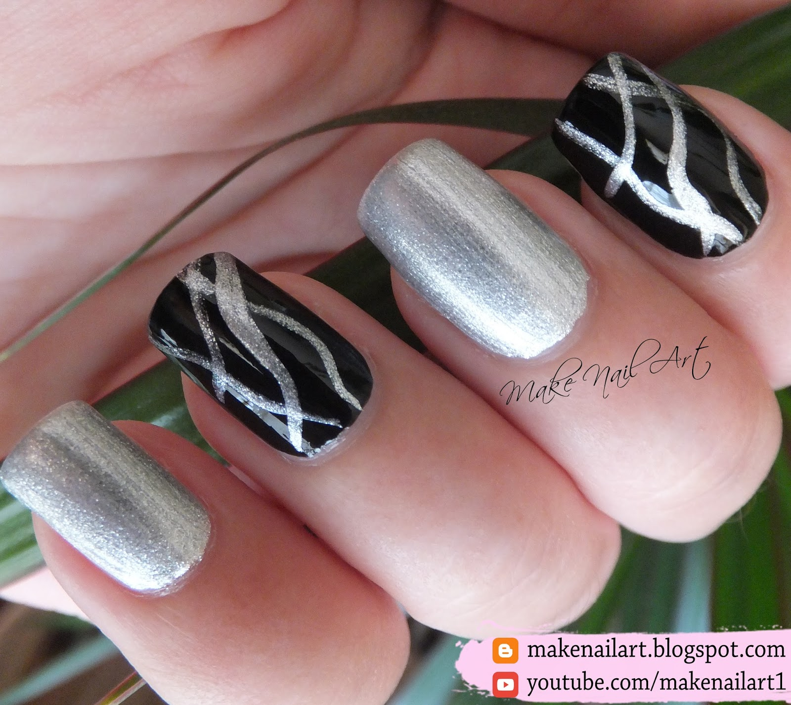 Make Nail Art Easy Abstract Black And Silver Metallic Nail Art