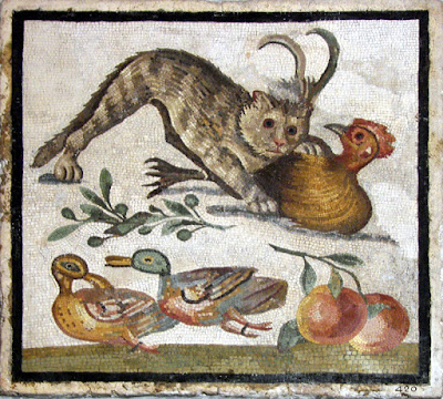 Roman floor mosaic representing a cat biting a rooster above 2 ducks and fruits